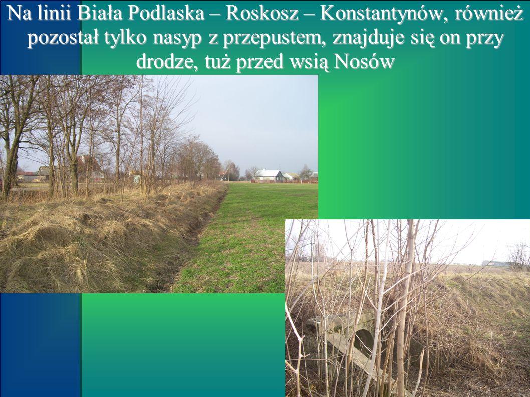 Na linii Biała Podlaska – Roskosz – Konstantynów, również pozostał tylko nasyp z przepustem, znajduje się on przy drodze, tuż przed wsią Nosów