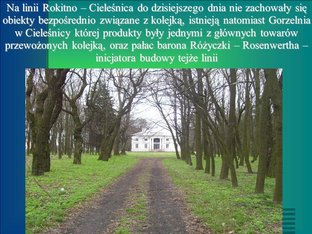 Na linii Rokitno – Cieleśnica do dzisiejszego dnia nie zachowały się obiekty bezpośrednio związane z kolejką, istnieją natomiast Gorzelnia w Cieleśnic