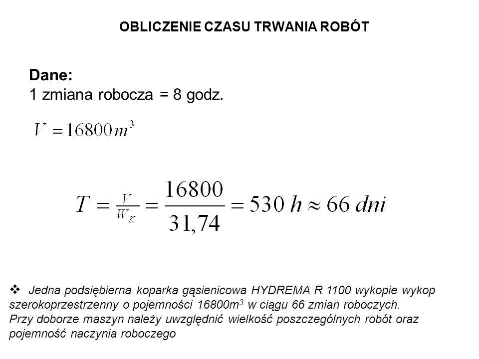 OBLICZENIE CZASU TRWANIA ROBÓT Dane: 1 zmiana robocza = 8 godz. Jedna podsiębierna koparka gąsienicowa HYDREMA R 1100 wykopie wykop szerokoprzestrzenn