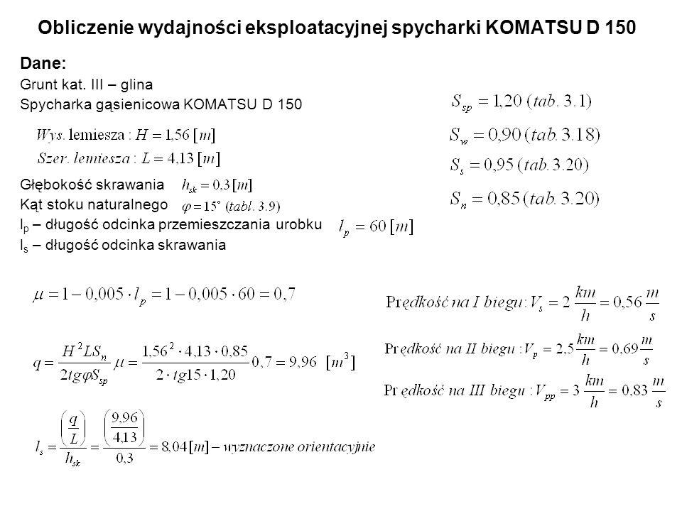 Obliczenie wydajności eksploatacyjnej spycharki KOMATSU D 150 Dane: Grunt kat. III – glina Spycharka gąsienicowa KOMATSU D 150 Głębokość skrawania Kąt