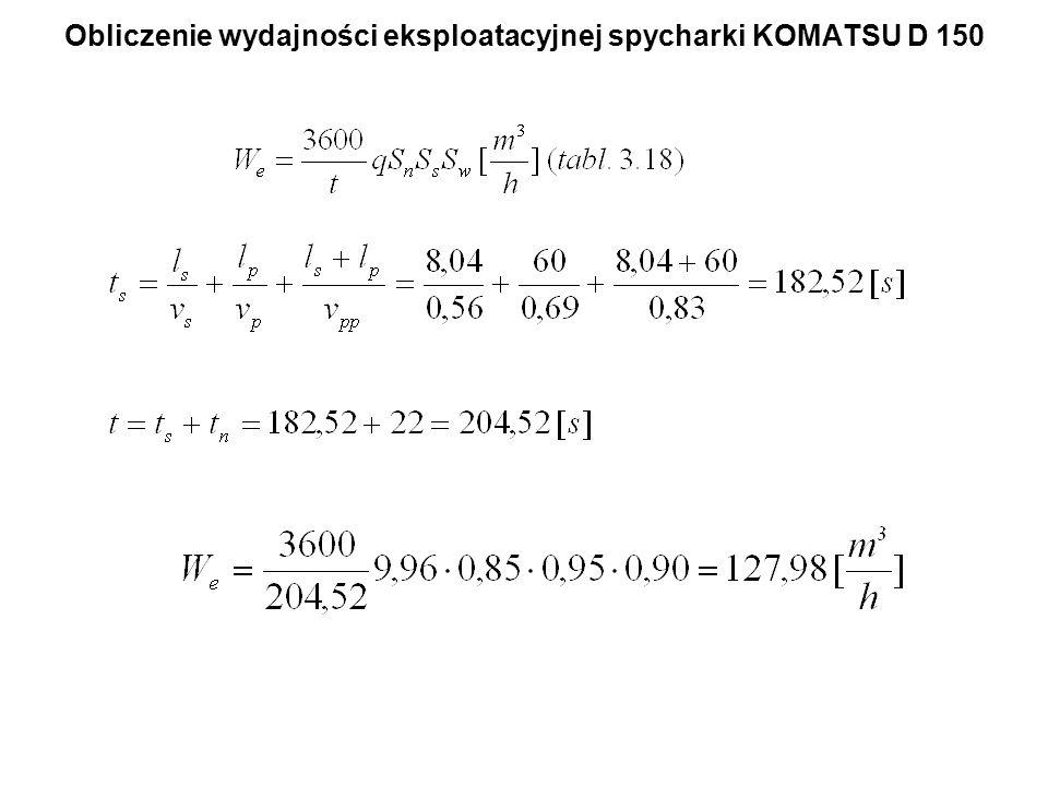 Obliczenie wydajności eksploatacyjnej spycharki KOMATSU D 150
