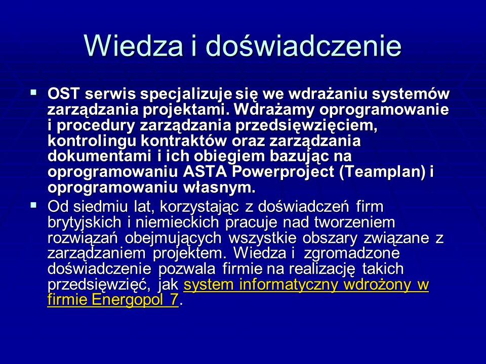 Wiedza i doświadczenie OST serwis specjalizuje się we wdrażaniu systemów zarządzania projektami. Wdrażamy oprogramowanie i procedury zarządzania przed