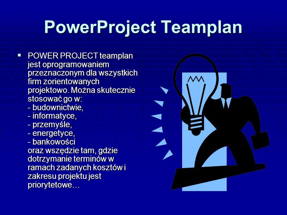 PowerProject Teamplan POWER PROJECT teamplan jest oprogramowaniem przeznaczonym dla wszystkich firm zorientowanych projektowo. Można skutecznie stosow