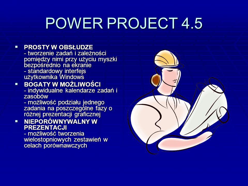 POWER PROJECT 4.5 PROSTY W OBSŁUDZE - tworzenie zadań i zależności pomiędzy nimi przy użyciu myszki bezpośrednio na ekranie - standardowy interfejs uż