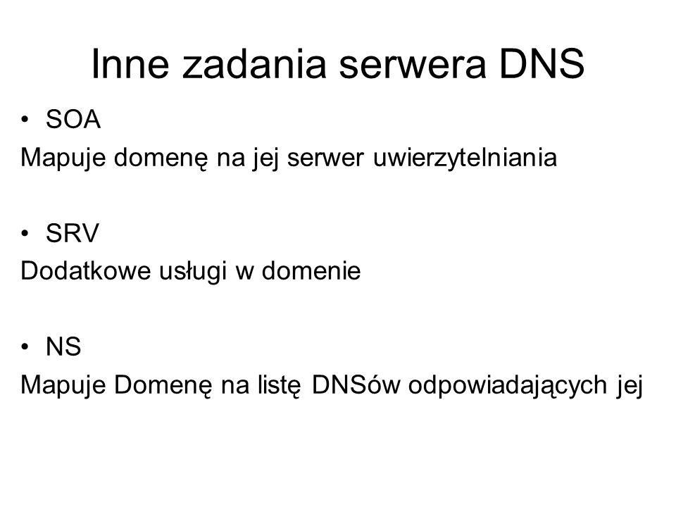 Inne zadania serwera DNS SOA Mapuje domenę na jej serwer uwierzytelniania SRV Dodatkowe usługi w domenie NS Mapuje Domenę na listę DNSów odpowiadający
