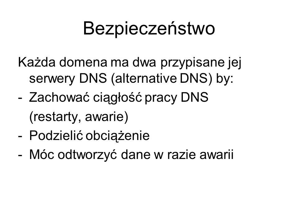 Bezpieczeństwo Każda domena ma dwa przypisane jej serwery DNS (alternative DNS) by: -Zachować ciągłość pracy DNS (restarty, awarie) -Podzielić obciąże