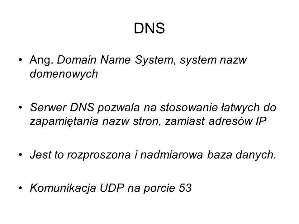 DNS Ang. Domain Name System, system nazw domenowych Serwer DNS pozwala na stosowanie łatwych do zapamiętania nazw stron, zamiast adresów IP Jest to ro