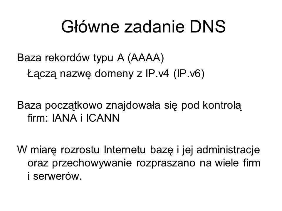 Główne zadanie DNS Baza rekordów typu A (AAAA) Łączą nazwę domeny z IP.v4 (IP.v6) Baza początkowo znajdowała się pod kontrolą firm: IANA i ICANN W mia