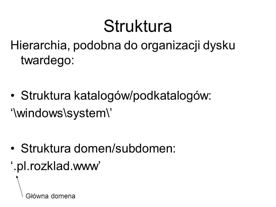 Struktura Hierarchia, podobna do organizacji dysku twardego: Struktura katalogów/podkatalogów: \windows\system\ Struktura domen/subdomen:.pl.rozklad.w