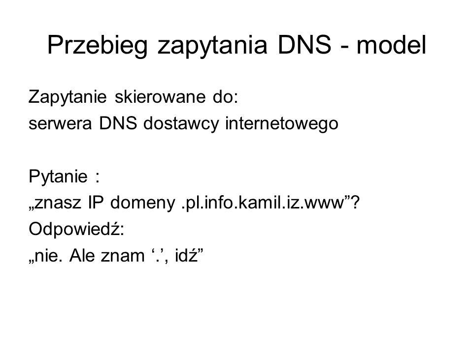 Przebieg zapytania DNS - model Zapytanie skierowane do: serwera DNS dostawcy internetowego Pytanie : znasz IP domeny.pl.info.kamil.iz.www? Odpowiedź: