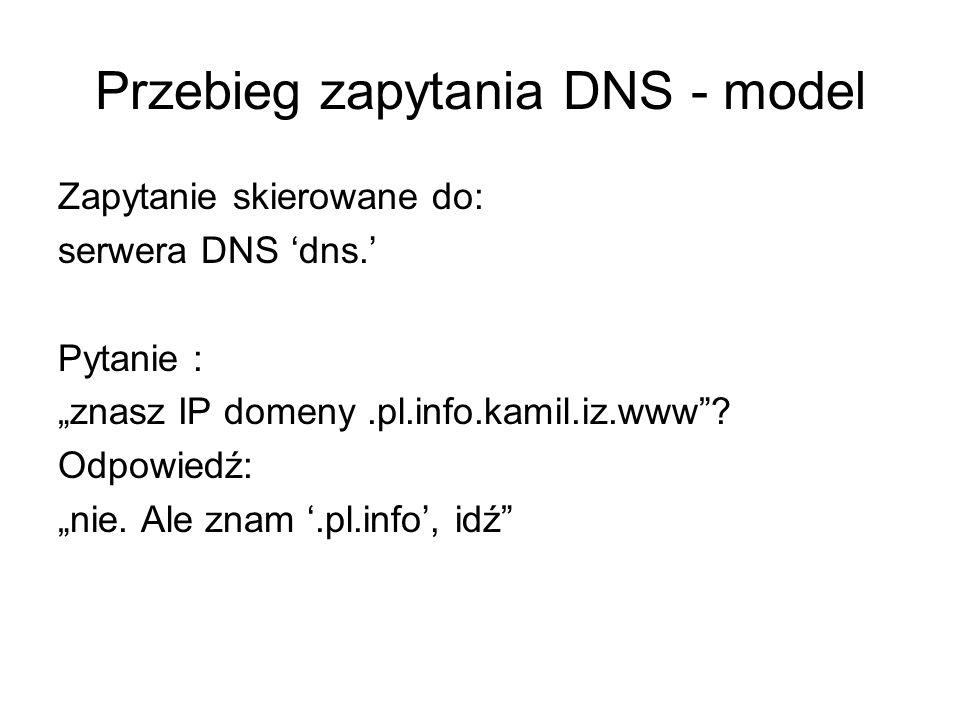 Przebieg zapytania DNS - model Zapytanie skierowane do: serwera DNS dns. Pytanie : znasz IP domeny.pl.info.kamil.iz.www? Odpowiedź: nie. Ale znam.pl.i