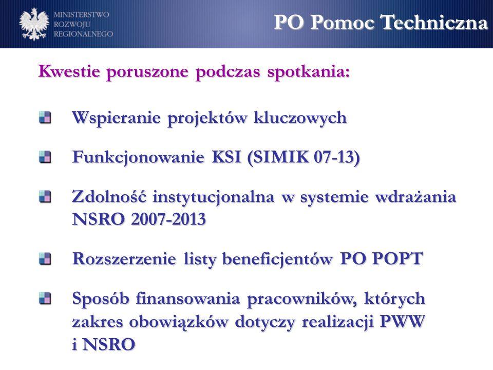 Kwestie poruszone podczas spotkania: Wspieranie projektów kluczowych Funkcjonowanie KSI (SIMIK 07-13) Zdolność instytucjonalna w systemie wdrażania NSRO 2007-2013 Rozszerzenie listy beneficjentów PO POPT Sposób finansowania pracowników, których zakres obowiązków dotyczy realizacji PWW i NSRO PO Pomoc Techniczna