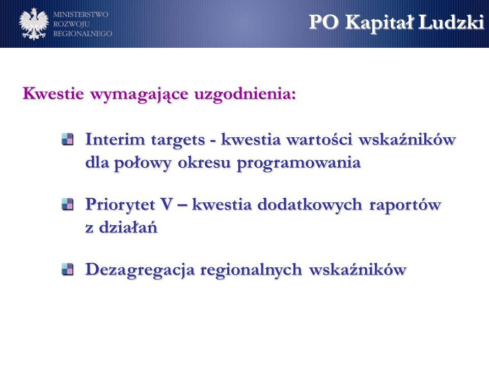Kwestie wymagające uzgodnienia: Interim targets - kwestia wartości wskaźników dla połowy okresu programowania Priorytet V – kwestia dodatkowych raportów z działań Dezagregacja regionalnych wskaźników PO Kapitał Ludzki