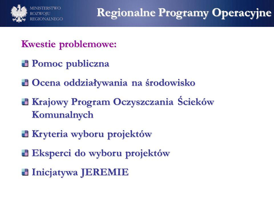 Regionalne Programy Operacyjne Kwestie problemowe: Pomoc publiczna Ocena oddziaływania na środowisko Krajowy Program Oczyszczania Ścieków Komunalnych Kryteria wyboru projektów Eksperci do wyboru projektów Inicjatywa JEREMIE