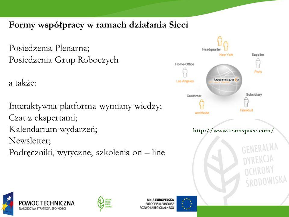Formy współpracy w ramach działania Sieci Posiedzenia Plenarna; Posiedzenia Grup Roboczych a także: Interaktywna platforma wymiany wiedzy; Czat z ekspertami; Kalendarium wydarzeń; Newsletter; Podręczniki, wytyczne, szkolenia on – line http://www.teamspace.com/