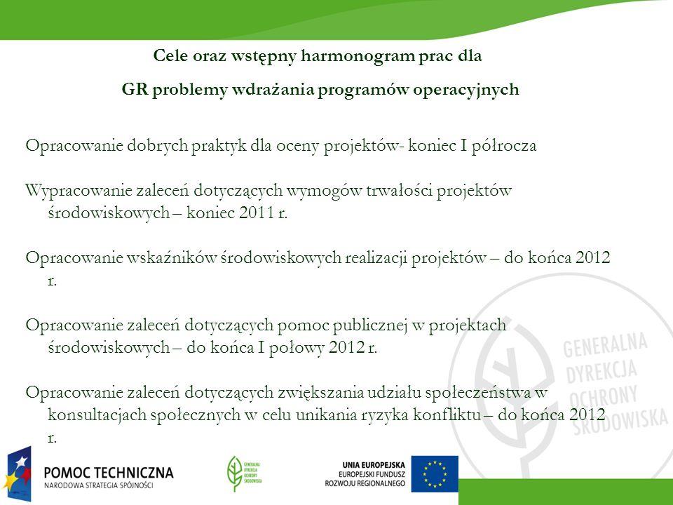 Cele oraz wstępny harmonogram prac dla GR problemy wdrażania programów operacyjnych Opracowanie dobrych praktyk dla oceny projektów- koniec I półrocza Wypracowanie zaleceń dotyczących wymogów trwałości projektów środowiskowych – koniec 2011 r.