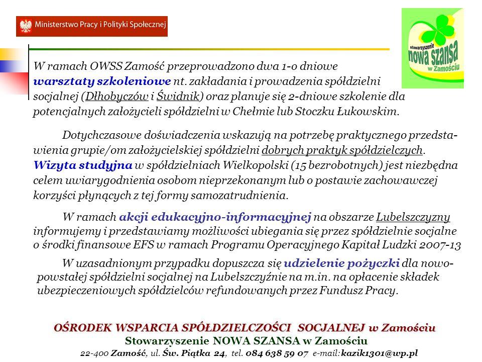 OŚRODEK WSPARCIA SPÓŁDZIELCZOŚCI SOCJALNEJ w Zamościu Stowarzyszenie NOWA SZANSA w Zamościu 22-400 Zamość, ul.