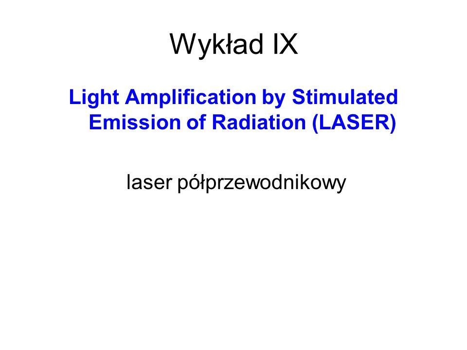Wykład IX Light Amplification by Stimulated Emission of Radiation (LASER) laser półprzewodnikowy