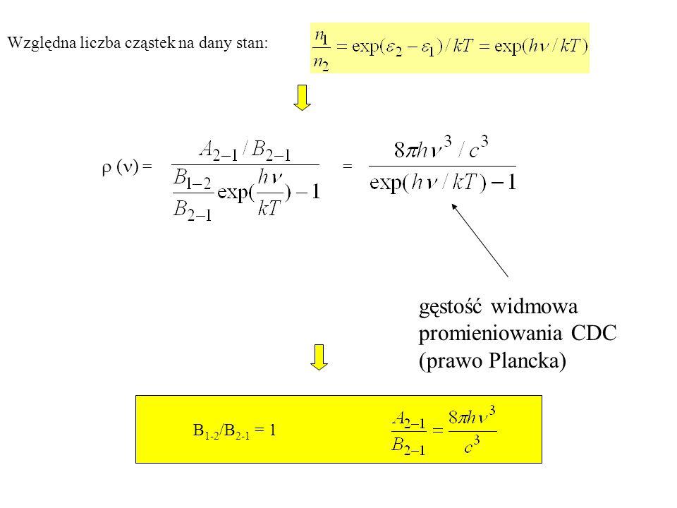 Stosunek A 2-1 prawdopodobieństwa emisji spontanicznej do prawdopodobieństwa emisji wymuszonej B 2-1 ( : 1.Energia h fotonów światła widzialnego zawiera się w granicach 1.6eV – 3.1eV.