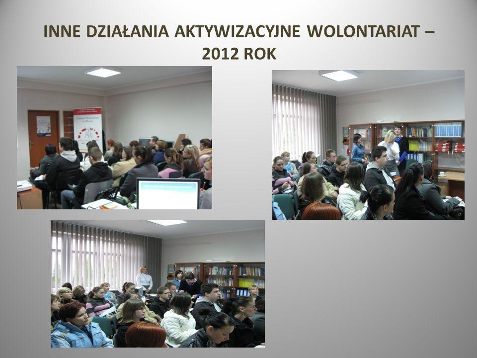 INNE DZIAŁANIA AKTYWIZACYJNE WOLONTARIAT – 2012 ROK