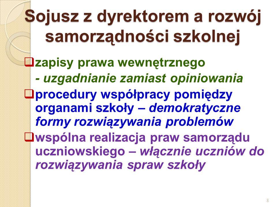 Sojusz z dyrektorem a rozwój samorządności szkolnej zapisy prawa wewnętrznego - uzgadnianie zamiast opiniowania procedury współpracy pomiędzy organami