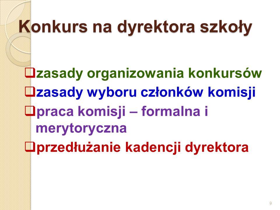 Konkurs na dyrektora szkoły zasady organizowania konkursów zasady wyboru członków komisji praca komisji – formalna i merytoryczna przedłużanie kadencj