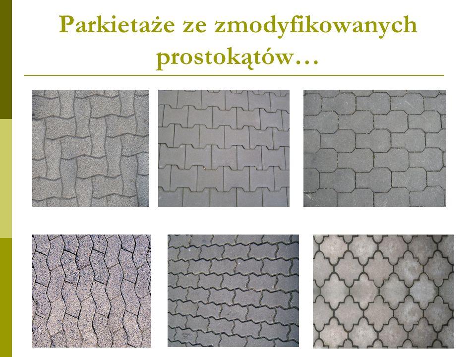 Parkietaże z prostokątów i innych figur… Ciekawe możliwości daje połączenie prostokątów kilku rodzajów (w tym prostokąta z kwadratem), a także z dwunastokątem wklęsłym w kształcie krzyża greckiego.
