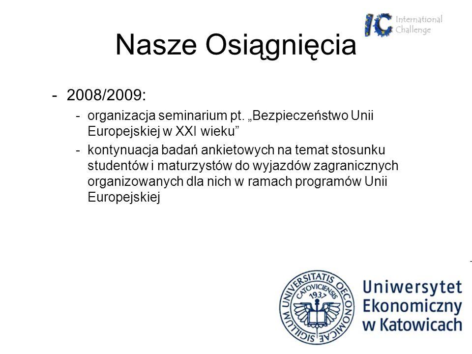 Nasze Osiągnięcia -2008/2009: -organizacja seminarium pt. Bezpieczeństwo Unii Europejskiej w XXI wieku -kontynuacja badań ankietowych na temat stosunk