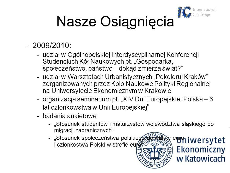 Nasze Osiągnięcia -2009/2010: -udział w Ogólnopolskiej Interdyscyplinarnej Konferencji Studenckich Kół Naukowych pt. Gospodarka, społeczeństwo, państw