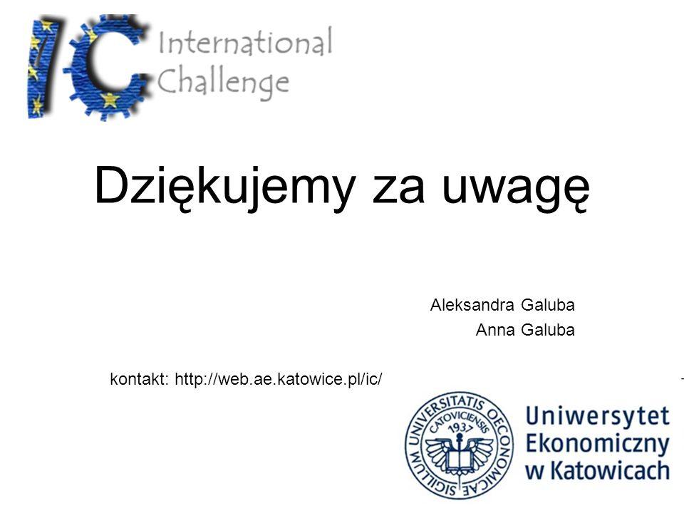 Dziękujemy za uwagę Aleksandra Galuba Anna Galuba kontakt: http://web.ae.katowice.pl/ic/