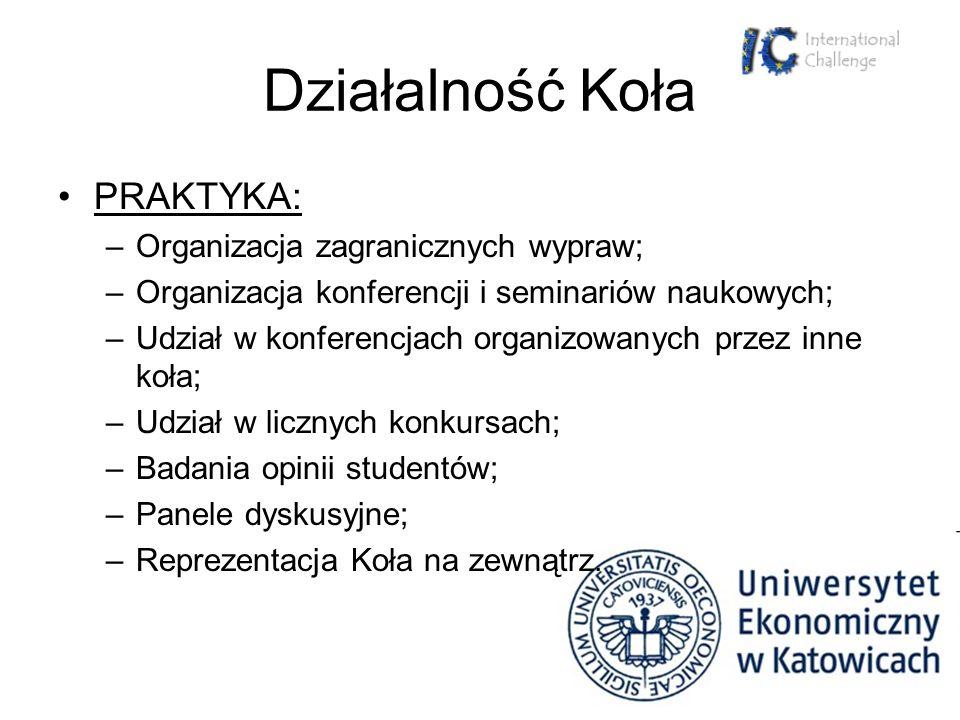 Działalność Koła PRAKTYKA: –Organizacja zagranicznych wypraw; –Organizacja konferencji i seminariów naukowych; –Udział w konferencjach organizowanych