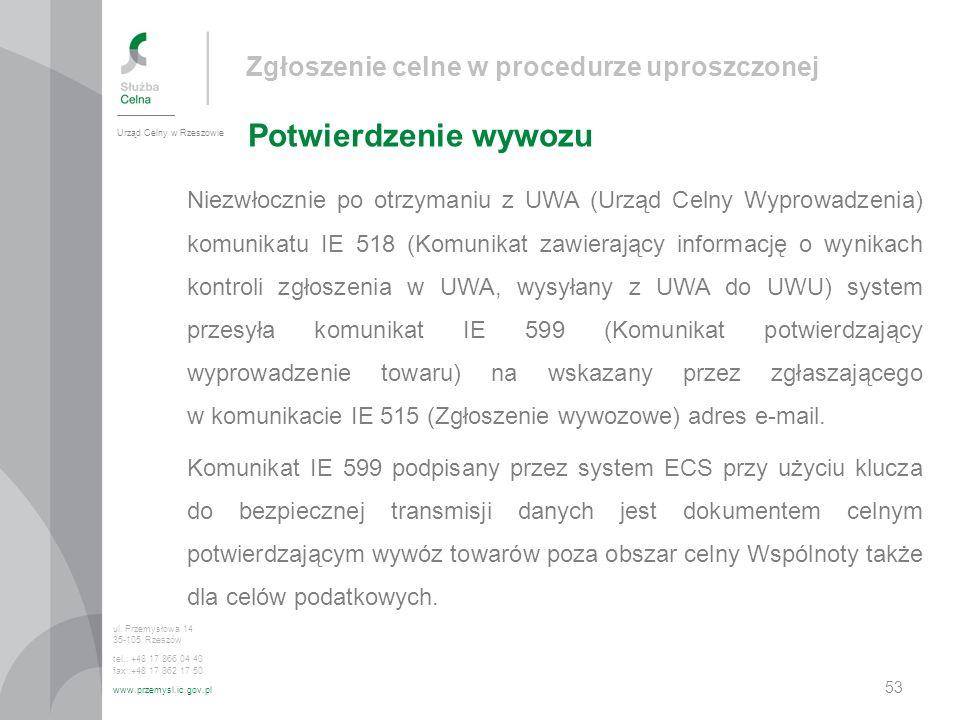 Zgłoszenie celne w procedurze uproszczonej Potwierdzenie wywozu Urząd Celny w Rzeszowie ul. Przemysłowa 14 35-105 Rzeszów tel.: +48 17 866 04 40 fax :