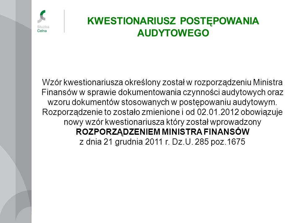 Wzór kwestionariusza określony został w rozporządzeniu Ministra Finansów w sprawie dokumentowania czynności audytowych oraz wzoru dokumentów stosowany
