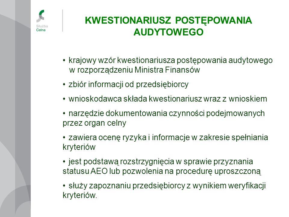 krajowy wzór kwestionariusza postępowania audytowego w rozporządzeniu Ministra Finansów zbiór informacji od przedsiębiorcy wnioskodawca składa kwestio