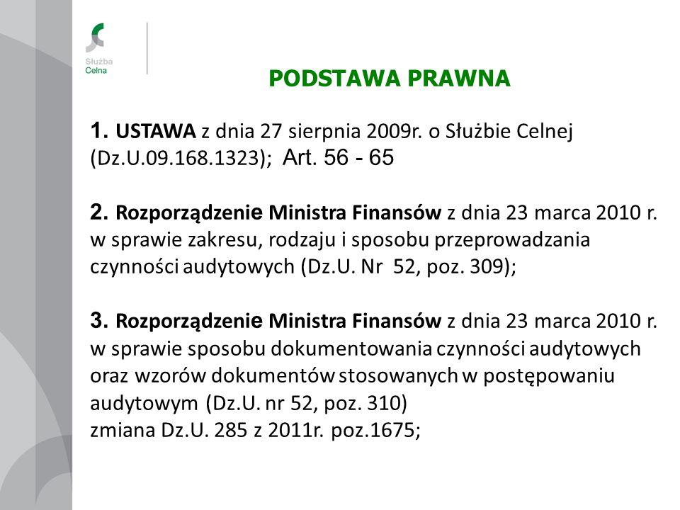 PODSTAWA PRAWNA 1. USTAWA z dnia 27 sierpnia 2009r. o Służbie Celnej (Dz.U.09.168.1323); Art. 56 - 65 2. Rozporządzeni e Ministra Finansów z dnia 23 m