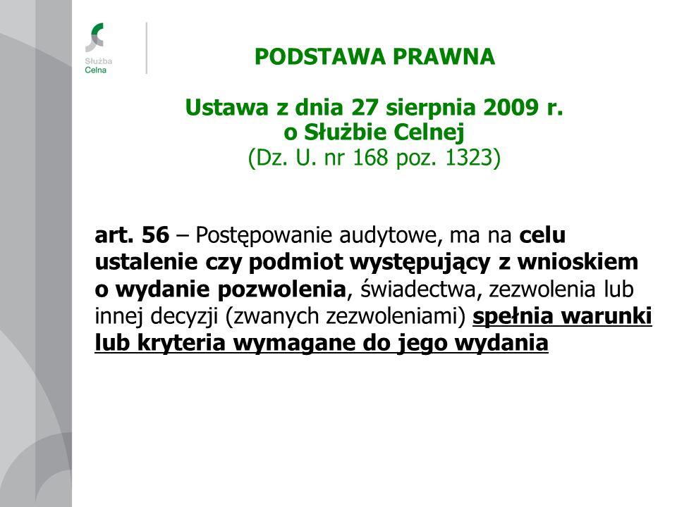 PODSTAWA PRAWNA Ustawa z dnia 27 sierpnia 2009 r. o Służbie Celnej (Dz. U. nr 168 poz. 1323) art. 56 – Postępowanie audytowe, ma na celu ustalenie czy