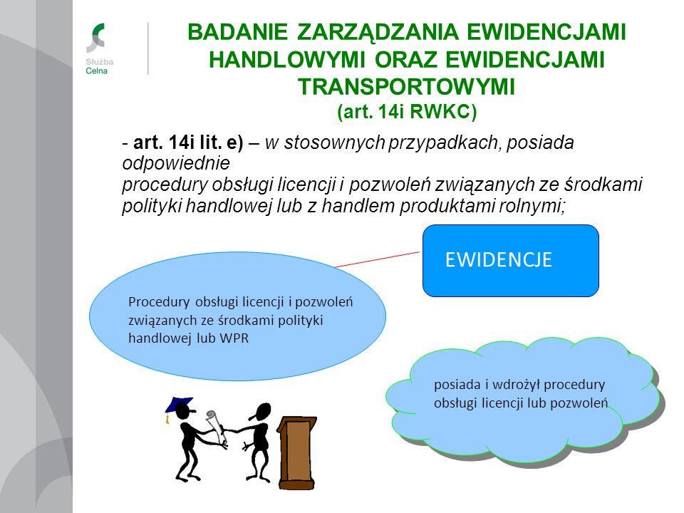 Procedury obsługi licencji i pozwoleń związanych ze środkami polityki handlowej lub WPR - art. 14i lit. e) – w stosownych przypadkach, posiada odpowie