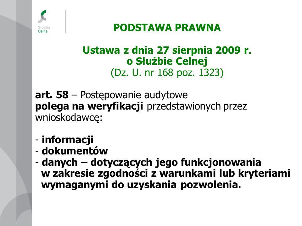 PODSTAWA PRAWNA Ustawa z dnia 27 sierpnia 2009 r. o Służbie Celnej (Dz. U. nr 168 poz. 1323) art. 58 – Postępowanie audytowe polega na weryfikacji prz