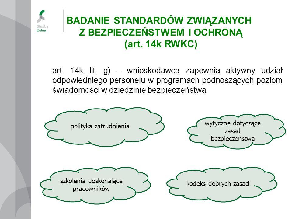 art. 14k lit. g) – wnioskodawca zapewnia aktywny udział odpowiedniego personelu w programach podnoszących poziom świadomości w dziedzinie bezpieczeńst