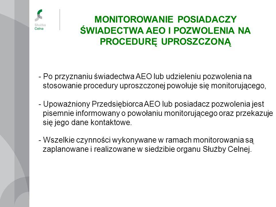 - Po przyznaniu świadectwa AEO lub udzieleniu pozwolenia na stosowanie procedury uproszczonej powołuje się monitorującego, - Upoważniony Przedsiębiorc
