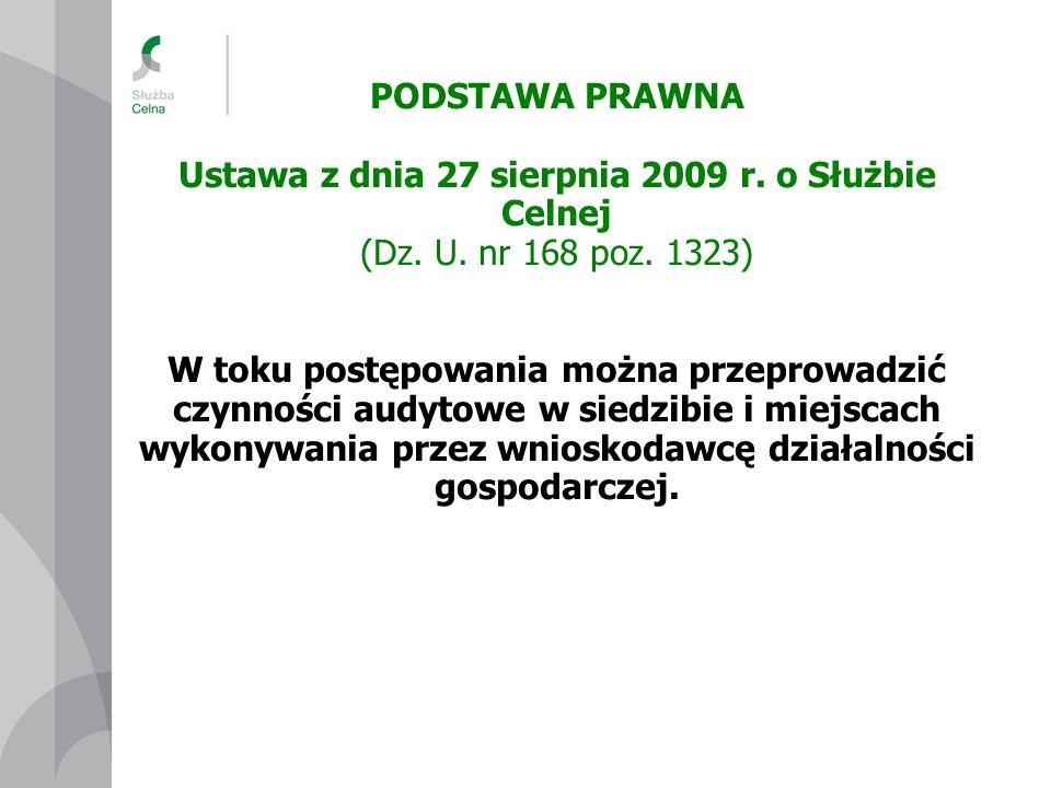 PODSTAWA PRAWNA Ustawa z dnia 27 sierpnia 2009 r. o Służbie Celnej (Dz. U. nr 168 poz. 1323) W toku postępowania można przeprowadzić czynności audytow