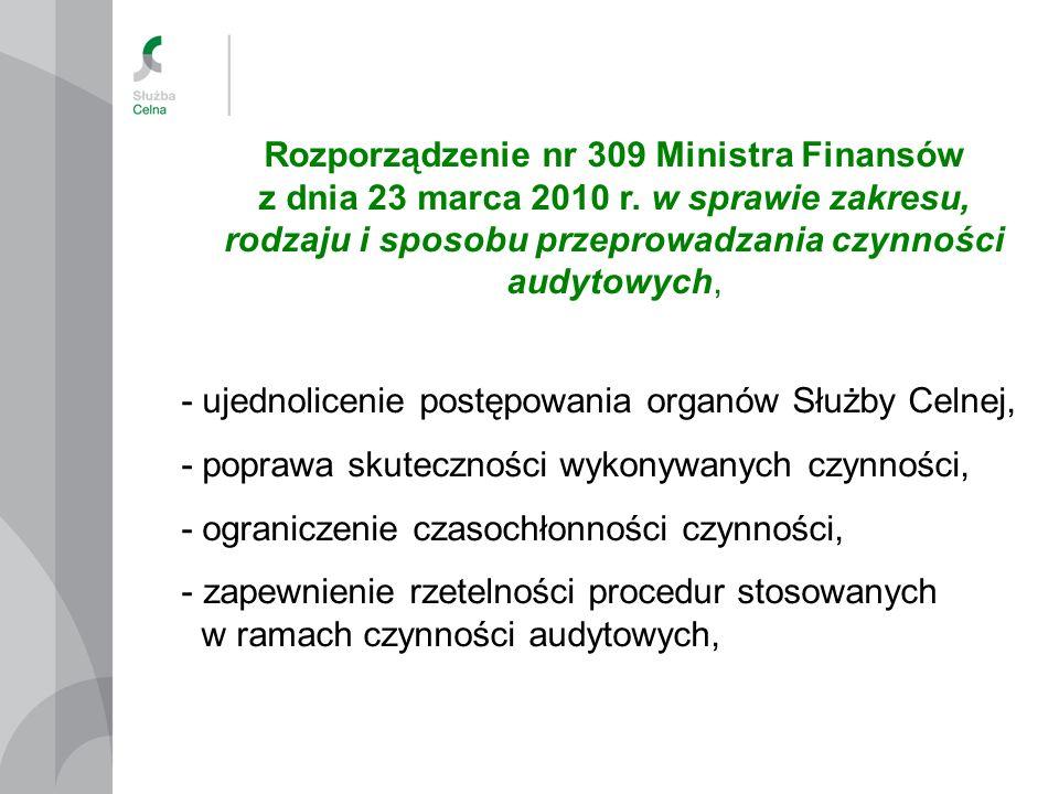 Rozporządzenie nr 309 Ministra Finansów z dnia 23 marca 2010 r. w sprawie zakresu, rodzaju i sposobu przeprowadzania czynności audytowych, - ujednolic