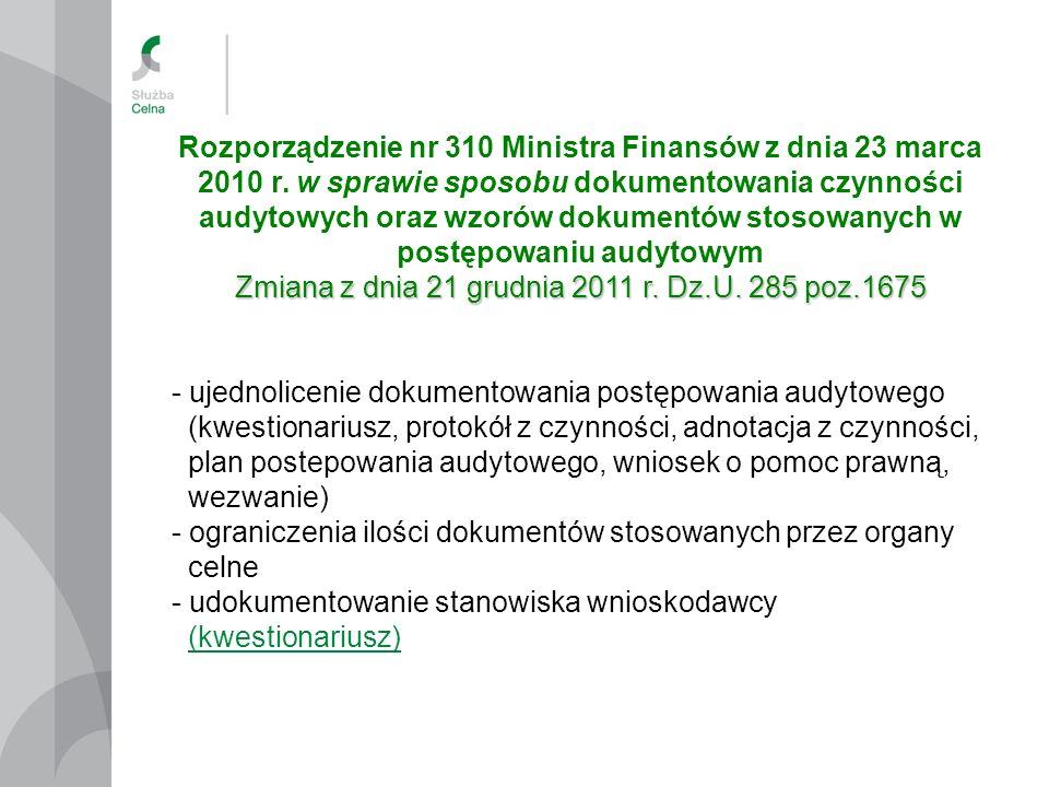 Rozporządzenie nr 310 Ministra Finansów z dnia 23 marca 2010 r. w sprawie sposobu dokumentowania czynności audytowych oraz wzorów dokumentów stosowany