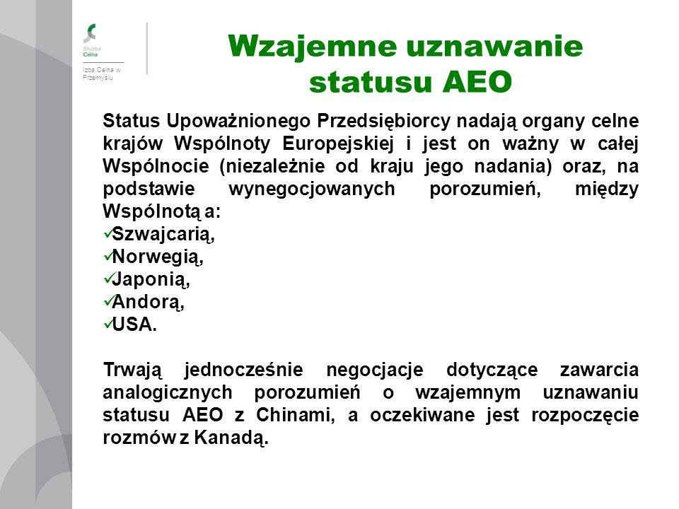 Izba Celna w Przemyślu Wzajemne uznawanie statusu AEO Status Upoważnionego Przedsiębiorcy nadają organy celne krajów Wspólnoty Europejskiej i jest on