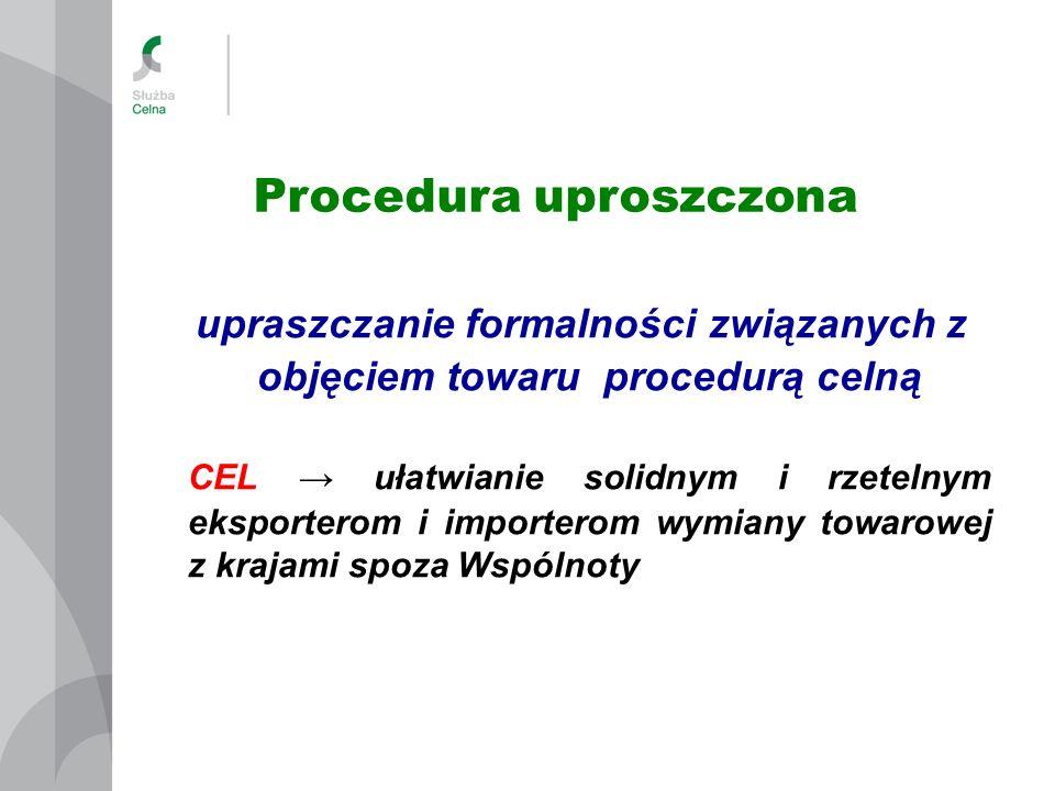 Procedura standardowa Procedura uproszczona dostarczenie towarów Oddział celny PROCEDURA W MIEJSCU