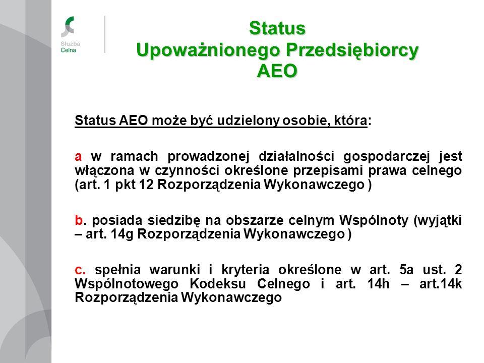 Status Upoważnionego Przedsiębiorcy AEO Status AEO może być udzielony osobie, która: a w ramach prowadzonej działalności gospodarczej jest włączona w