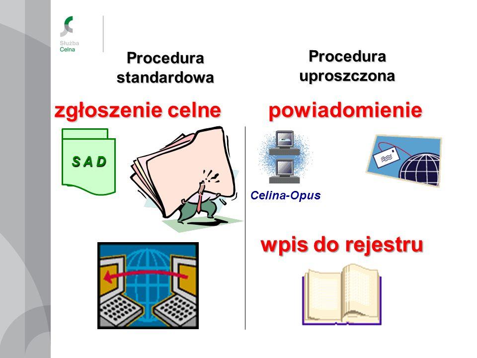 Procedura standardowa Procedura uproszczona zgłoszenie celne S A D Celina-Opus powiadomienie wpis do rejestru