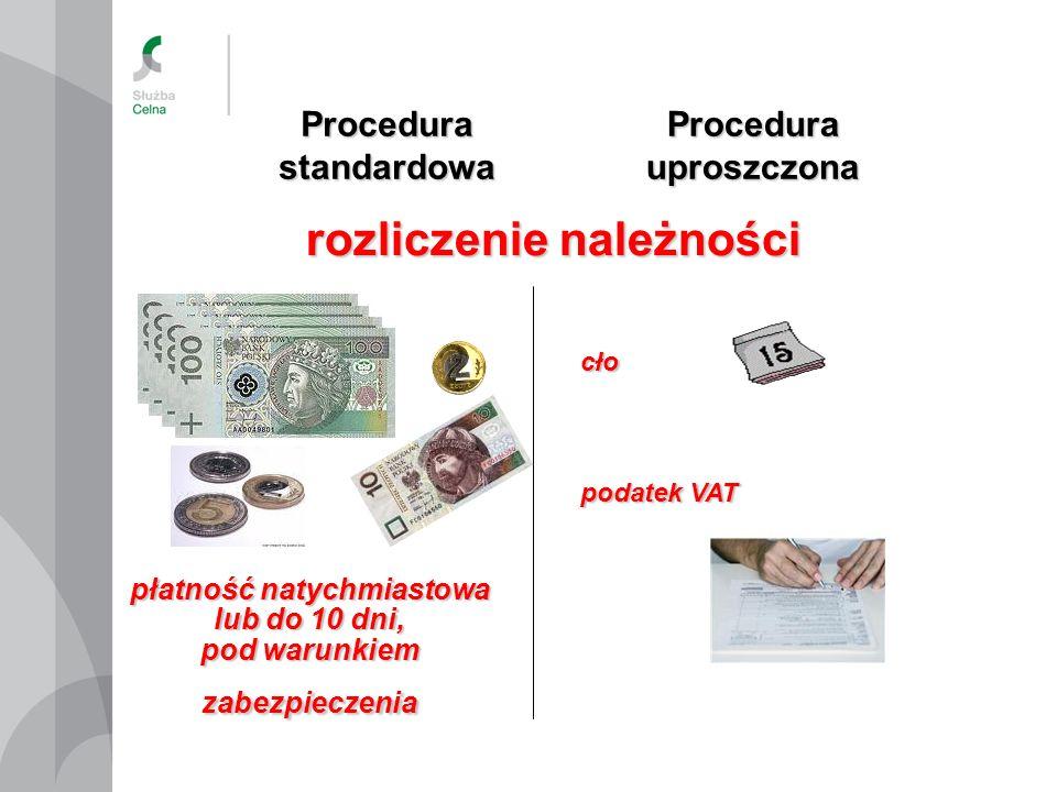 Procedura standardowa Procedura uproszczona rozliczenie należności podatek VAT cło płatność natychmiastowa lub do 10 dni, pod warunkiem zabezpieczenia