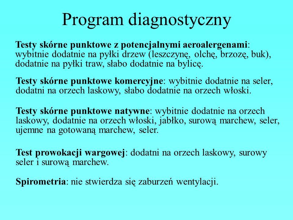 Program diagnostyczny Testy skórne punktowe z potencjalnymi aeroalergenami: wybitnie dodatnie na pyłki drzew (leszczynę, olchę, brzozę, buk), dodatnie