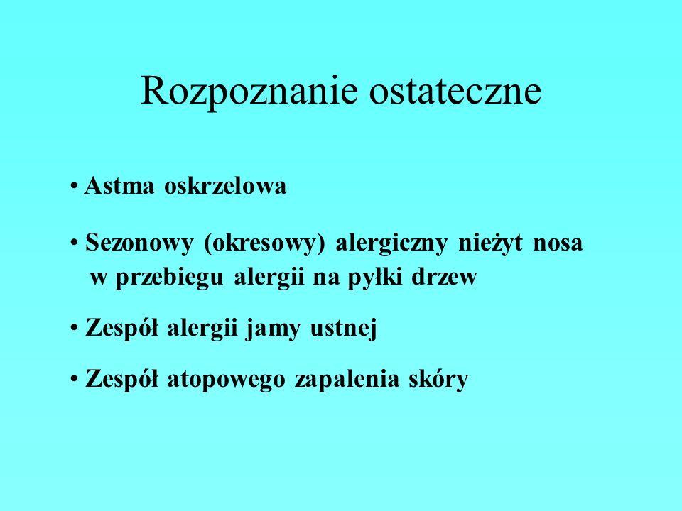Rozpoznanie ostateczne Astma oskrzelowa Sezonowy (okresowy) alergiczny nieżyt nosa w przebiegu alergii na pyłki drzew Zespół alergii jamy ustnej Zespó